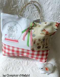 stitched tote bag