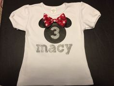 Minnie Mouse Birthday shirt made using Cricut Mickey and Friends and iron-on vinyl.