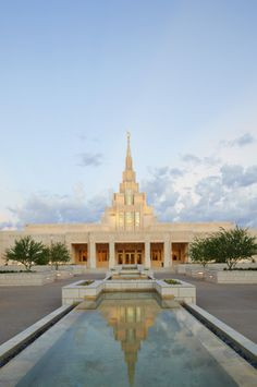 The Phoenix Arizona Temple entrance, including the water fountain.