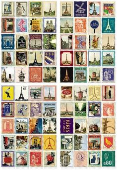 "Each stamp features images of Paris  80 stamps total  4 sheets  Sheet: 5.25"" x 3.5"" Stamp: 22 x 19 mm"