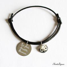 """Bracelet cordon gravé """"la plus chouette maman"""" gravure personnalisée prénom - cadeau fête des mères"""