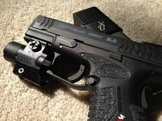 Springfield XDM 45 3.8 Compact Pistol Black Handgun with Grip Tape and Light Laser Combo feat. 140mm Magazine Baseplate from Pistol Gear
