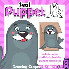 Seal Puppet - printable paper bag puppet template. Fun craft project for kids. Make your own seal puppet and put on a puppet show or play.