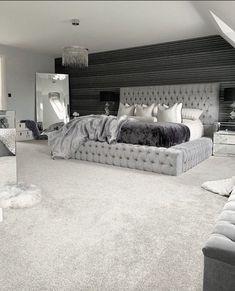 Dream House Interior, Dream Home Design, Modern House Design, Room Ideas Bedroom, Home Decor Bedroom, Classy Bedroom Ideas, Master Bedroom Decorating Ideas, Grey Room Decor, Black Bedroom Decor