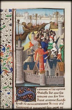 Trojan refugees leave their ships at Rome (something about Aeneas?),  from Augustine, La Cité de Dieu, Book IX, illustrated by Maitre Francois, c. 1475-1480