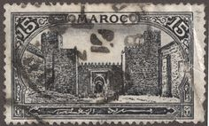 French Morocco 1917 line engraved 15c dark gray