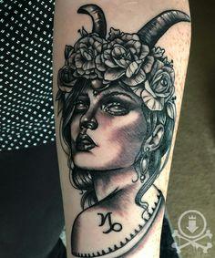 Beautiful black and grey Capricorn lady tattoo by Meghan Patrick. #12ozstudios #team12oz #tattoo #tattoos #tattooed #tattooing #tattooism #tattooart #tattooartist #tattooer #tattooist #art #artstudio #tattooshop #tattoostudio #ink #inked #bng #bngtattoo #blackandgrey #blackandgreytattoo #ladytattoo #ladyhead #ladyheadtattoo #capricorn #zodiac #capricorntattoo #zodiactattoo