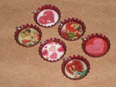 Red Glitter Valentine's Hearts Bottle Cap Charms Mini Tree Ornaments Party Favor #Valentines