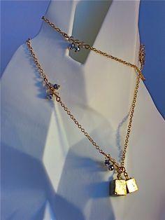 $ Long chain with Pyrite.  www.PaulettaBrooks.com  www.Pauletta.etsy.com