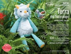 TERRA THE TRICERATOPS ~ Scentsy Buddy ~ Comes with YOUR CHOICE of Scent Pak ~ $30. / Whiloe supplies last ORDER ONLINE ~ SHIPS DIRECT https://spollreisz.scentsy.us