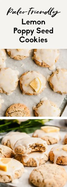 Gorgeous paleo lemon poppy seed cookies made with a mix of nutritious coconut flour and almond flour then topped with an easy, sweet & zesty lemon glaze. These healthy lemon poppy seed cookies are the perfect healthy spring treat that's gluten, grain, dairy free and easily vegan! #cookies #lemonpoppyseed #easter #healthydessert #glutenfree #grainfree #paleofriendly #glutenfreedessert Healthy Carrot Cakes, Healthy Cookie Recipes, Allergy Free Recipes, Healthy Baking, Healthy Snacks, Healthy Sweets, Paleo Recipes, Paleo Cookies, Lemon Cookies