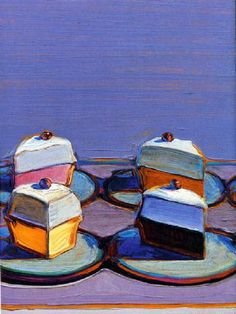 Wayne Thiebaud - one of his pastry/sweets paintings.  He's got lots of cake, pie, cup cakes, etc. painted together.  Odd, he's a thin man.