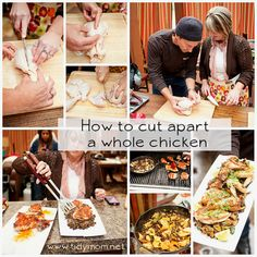How to cut up a whole chicken - video tutorial at TidyMom.net