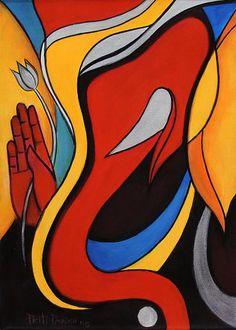 Ganesha Painting in Acrylic on Canvas - Ganesha with Lotus | NOVICA