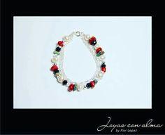Pulsera - plata+coral+turquesa+perla+cristal swarovski