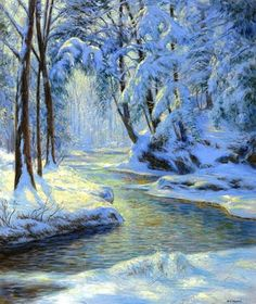 Walter Launt Palmer (American painter, 1854-1932) Snowy Landscape with Brook 1915