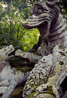 Monster carving at the Monster Park in Bomarzo, Viterbo province, northern Italy