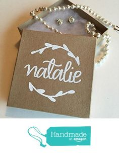 Custom Personalized and Calligraphy Embossed Kraft Jewelry Gift Box with Lid, Perfect for Bridesmaid, Maid of Honor, Flower Girl, or Bridal Party Gifts and Favors from Laird & Brie https://www.amazon.com/dp/B01N7YJEB5/ref=hnd_sw_r_pi_dp_1OhNyb6KTDE8Y #handmadeatamazon
