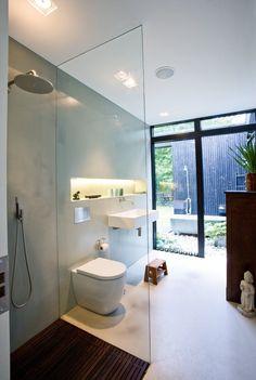 The beautiful indoor/outdoor bathroom in the private summerhouse of architect Rasmus Bak. Bathroom Renovation, Bathroom Inspiration, Summer House, Indoor Outdoor Bathroom, House, Bathroom Renos, Outdoor Baths, Bathroom Renovations, Bathroom Design
