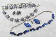 TWO SETS - Mid Century Lucite and Rhinestone Jewelry Sets