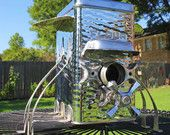 Birdhouse Bird house Art Piece Repurposed Upcycled Custom Chrome Flour Canister Pod Storage Found Objects Metal Recycled OOAK