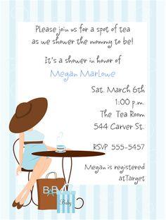 Baby Boy Tea Party Baby Shower Invitations