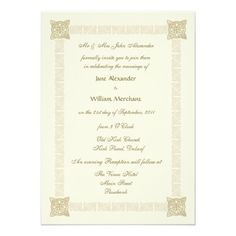 Wedding Invitation Celtic Knot Border Gold Effect