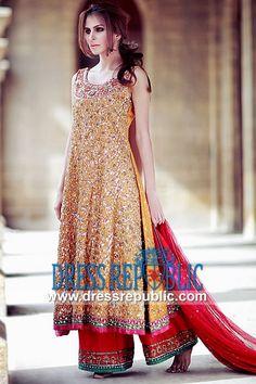 Burnt Orange Kimball - DR9815, Mayoon Brides Designer Shalwar Kameez 2013, Mehndi Henna Dresses Collection by www.dressrepublic.com