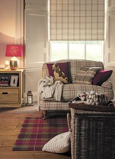 Country Elegance / A/W 2014 / Laura Ashley / Home Collection - Model Home Interior Design Cottage Living Rooms, New Living Room, Home And Living, Living Room Decor, Living Room Ideas Tartan, Country Living Room Rustic, Grey And Red Living Room, Country Lounge, Burgundy Living Room