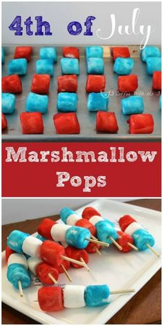 4th of July Marshmallow Pops.  Simple and fun patriotic snack recipe.