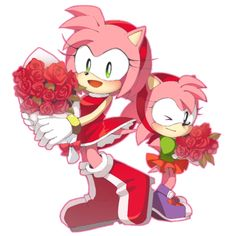 Modern Amy and classic Amy both got roses from there sonics after sonic generations