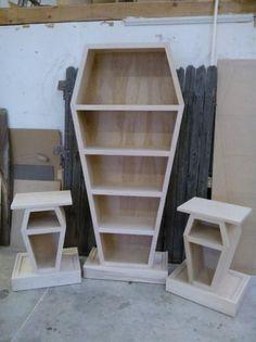 Coffin Bookcase & End Tables Set