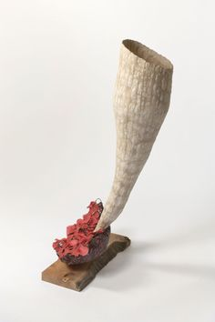 Blume 2010, Abaca paper, apple wood, cedar, pigment, 50 x 20 x 20 inches,  Fritz Dietel Sculpture
