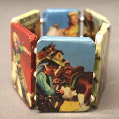 Retro Chic Stretch Vintage Cowgirl Bracelet in full color