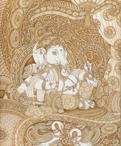 Shri Ganesh! Lord Ganesha. Ganesha Drawing, Lord Ganesha Paintings, Ganesha Art, Pichwai Paintings, Indian Art Paintings, Landscape Paintings, Kalamkari Painting, Tanjore Painting, Indian Traditional Paintings