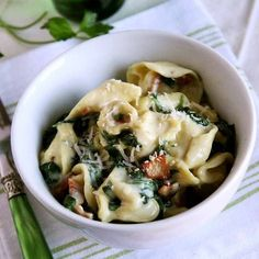 Tortellini with Crispy Bacon and Spinach in Cream Sauce (can substitute almond milk!)