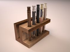 """Dudek Modern Goods Display with Retro 51 pens rendering of the Dudek Modern Goods \""""Display\"""" filled with various Retro 1951 Tornado pens. Wooden Pen Holder, Wood Phone Stand, Desk Tray, Pen Design, Small Wood Projects, Wooden Plates, Wood Ornaments, Small Furniture, Metal Wall Decor"""