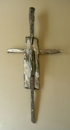 Crosses made of scrap iron by artist Catherine Partain, at crossesbycatherine.com