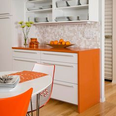 Pick Colorful Countertops Manufactured countertops made from quartz-surfacing or recycled materials can be produced in any color imaginable. Add a splash of color to a serving area or island with a colorful countertop.