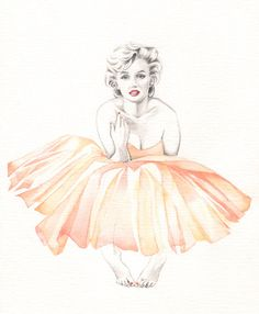 Marilyn Monroe Ballerina PRINT of original watercolor painting by Katrina Pete. Marilyn Monroe wearing a coral and pink tutu. (I may have pinned this before)   This image first pinned to Marilyn Monroe Art board, here: http://pinterest.com/fairbanksgrafix/marilyn-monroe-art/    #Art #MarilynMonroe