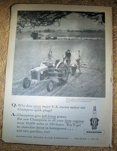 Champion Spark Plus Ad Farm Journal Oct 1958 Ford Tractor pulling planter