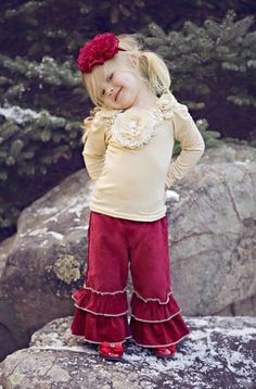 Girls Shabby Chic Taupe Fall Flower Top Matching Pant, Headband & Shoe Available!