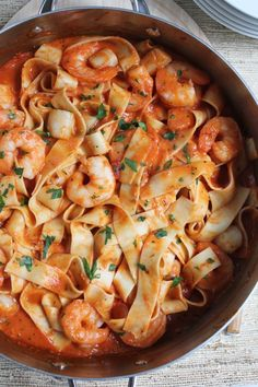 A pan of Seafood Pappardelle.