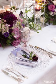 WedLuxe Magazine Pretty In Purple Wedding Table Deco, Wedding Table Settings, Centerpieces, Table Decorations, Ultra Violet, Color Schemes, Wedding Inspiration, Purple, Pretty