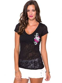 "Women's ""Flowers"" V Neck Burnout Tee by Metal Mulisha (Black) #inkedshop #heart #flowers #fashion #style"