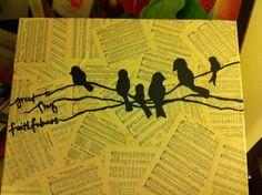 Birds On a Wire Canvas Painting by gloryandbeauty on Etsy, $40.00