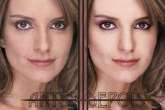 Tina Fey without airbrushing (left, with her famous scar) and with airbrushing (right). #real #beauty #selfesteem #fake #photoshop #retouch don-t-compare-yourself-to-celebrities