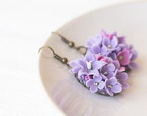 Lilac Flower Earrings Jewelry Fl Botanical Polymer Clay