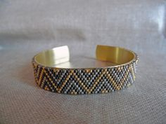 Bracelet tissé Miyuki Bracelet réglable sur une base en laiton Indien Navajo Bronze, doré et argenté Bracelet : Bracelet par m-comme-maryna