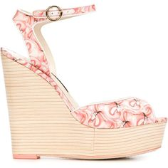 Sophia Webster 'Lula Dreamy Flamingo' Sandals ($450) ❤ liked on Polyvore featuring shoes, sandals, pink, real leather shoes, sophia webster shoes, leather shoes, leather sandals and wedge heel shoes